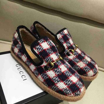 GUCCI new ladies autumn winter wool loafers womens cheap gucci shoes