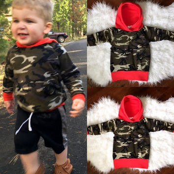 NEW ARRIVAL Toddler Baby Boys Girls Clothing Cotton Hooded Tops Hoodie Army Green Sweatshirt Clothes 0-24M