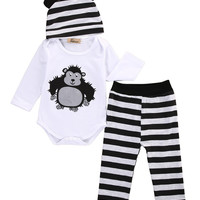 Pudcoco 2017 Autumn New baby boy clothing set fashion cotton long-sleeved romper+ pants+hat 3pcs newborn baby boy clothes set