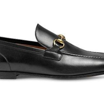 Gucci Men's 'Jordaan' Horsebit Calfskin Leather Loafer, Nero (Black)
