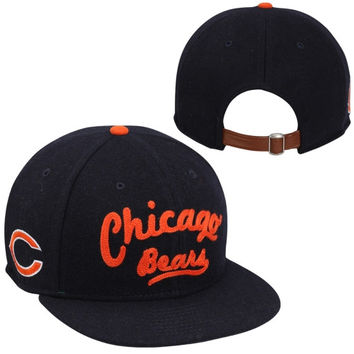 New Era Chicago Bears Arch V-Script 9FIFTY Strapback Hat - Navy Blue/Orange
