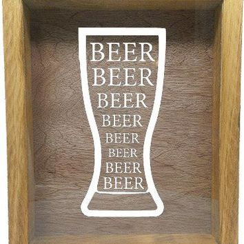 "Wooden Shadow Box Wine Cork/Bottle Cap Holder 9""x11"" - Beer Beer Beer in Glass"