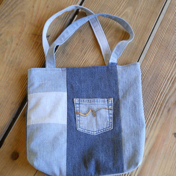 Denim Tote Bag / Purse / Recycled Denim Patchwork with Vintage Polyester Floral Lining
