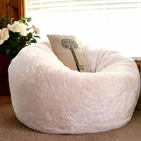Cloud Chair - Soft Plush Fur White Bean Bag