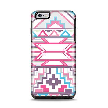 The Vector Pink & White Modern Aztec Pattern Apple iPhone 6 Plus Otterbox Symmetry Case Skin Set