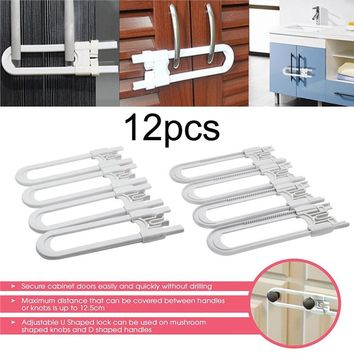Pack of 4 Child Safety Cabinet Latches For Baby Safe Closet Kitchen Door U-Shaped Lock