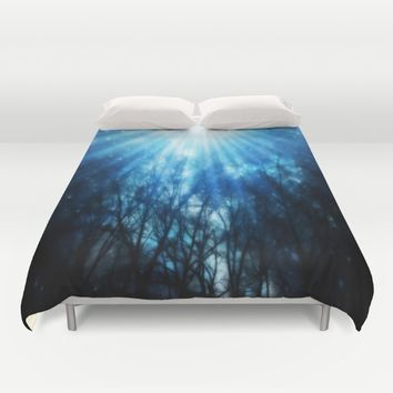 There Is Hope In the Light : Black Trees Blue Space Duvet Cover by 2sweet4words Designs