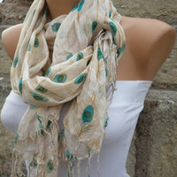 Multicolor  Shawl Scarf -  Cowl Scarf  Peacock Scarf - fatwoman