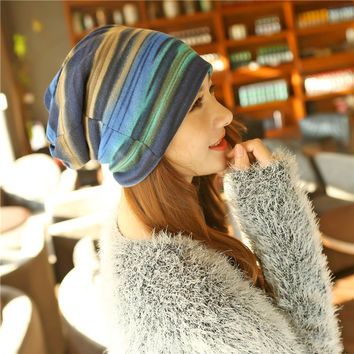 New Arrival 3 Use Hat Knitted Scarf & Winter Hats for Women Striped Beanies Hip-hot Headband  Girls  Women Beanies