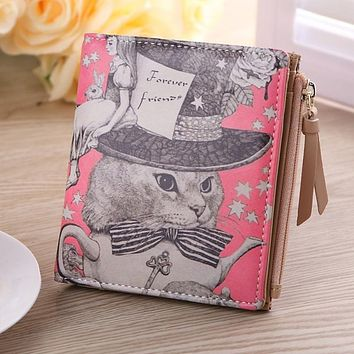 2016 New Design Vintage Marilyn Monroe Cartoon Cat Women Wallets Brand Female Purses Wallet Zebra Carteira Feminina Clutch