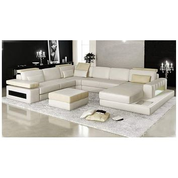 Mantua-U shape leather lounge with chaise