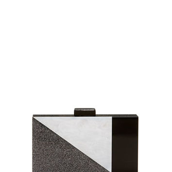 Neiman Marcus Colorblock Resin Box Clutch Bag, Black