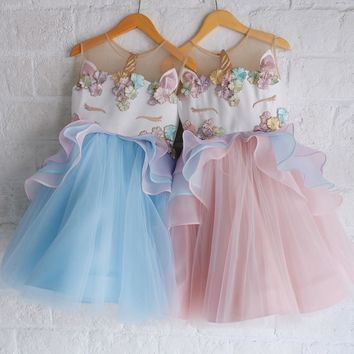 Girls Unicorn Princess Dress Summer Toddler Birthday Wedding Party Lace Ball Gown Dress Girls Clothes Kids Dresses for Girls