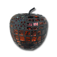 Mosaic Art Red Apple for home decor - Candy Apple red decorative orb faux fruit contemporary art