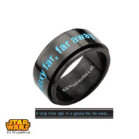 "Stainless Steel I.P. Black Star Wars "" A long time ago in a galaxy far away…"" Spinner Ring. Available Sizes: 8 - 12"