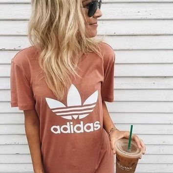 VONE7Y2 Adidas Originals Trefoil Boyfriend Short Sleeve Tunic Shirt Top Blouse-3