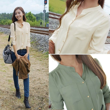 Women's Chiffon Blouses Officer OL Shirts Long Sleeve Button Pocket Tops SV000848 = 1646041860