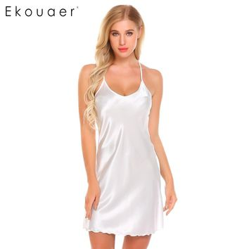 Ekouaer Sexy Women Satin Sleepwear Spaghetti Strap Nightdress Slip Chemise Camisole Nightgown Summer Home Sleep Wear Clothes