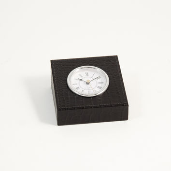 "Clock, Black ""Croco"" Leather, T.P."