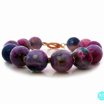 Faceted Multi-Colored Agate Onyx Bracelet w/22 carat Gold Vermeil Toggle Clasp, 14mm Agate Onyx Bracelet handmade in Bali
