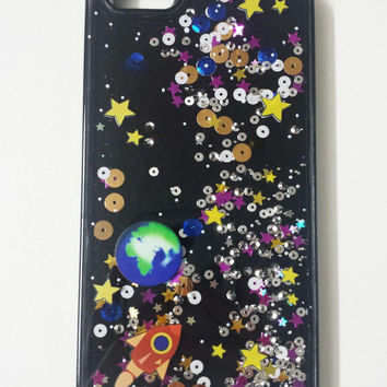 iPhone 6/6 Plus Case - Outer Space Liquid Phone Case - Stars and Space - Moving Sequins