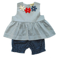 Sophie Catalou Gray Suzy Babydoll Top & Shorts - Infant | zulily