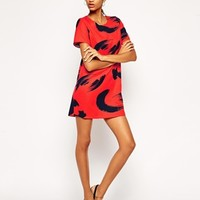 John Zack Shift Dress In Brush Print