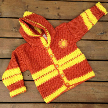 Crochet child Sweater,  Handmade Crochet Baby hoodie - Children's sweater size 4