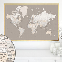 "Highly detailed map - 60x40"" Printable world map with cities, capitals, countries, states... Gift for him, travel lover gift - map149 010"