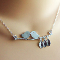 Mommy's Lovebirds Necklace Hand Stamped Sterling Silver