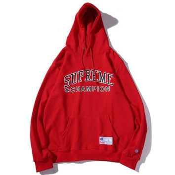 Champion & Supreme Co Printed Men And Women Plus Velvet Hood Hooded Sweater Red