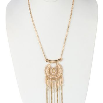 Beige Vintage Style Filigree Long Chain Fringe Necklace