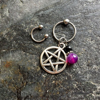 Upright Pentacle - 20g 18g 16g 14g CBR / BCR Bead Captive Ring Horseshoe Piercing Jewelry Hoop ( Helix Tragus Orbital )