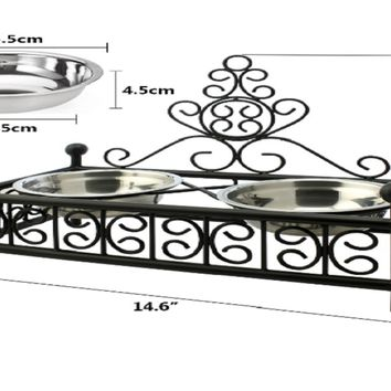 Double Stainless Steel  Food Feeder Dish Bowl Iron Stand