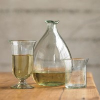 Clear Recycled Glass Wine Decanter Set - VivaTerra