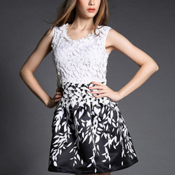 Leaf Print Sleeveless Dress