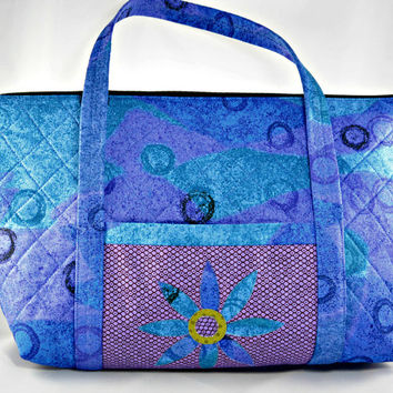 Handmade Quilted Tote Bag, Large Purse, Carry On Bag in Blue and Purple