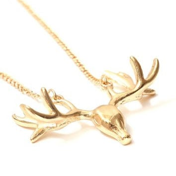 Deer Necklace Elk Skull Antlers Taxidermy Gold Tone NM04 Animal Stag Charm Vintage Pendant