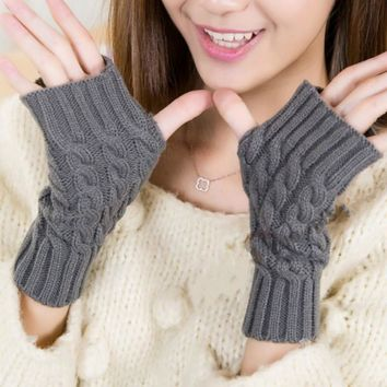 BONJEAN Stylish hand warmer winter gloves hommes women Arm Crochet Knitting Flowers Long warmer Fingerless Gloves gants femme