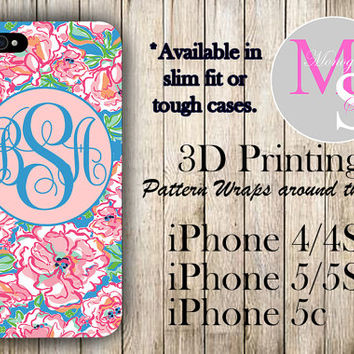 Monogram iPhone Case Personalized Phone Case Lilly Pulitzer Inspired Monogrammed iPhone Case Iphone 4S, Iphone 4, iPhone 5S, iPhone 5C #2021