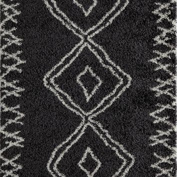 "Contemporary Area Rug Maya Collection  Black 5'3""x7'6"""