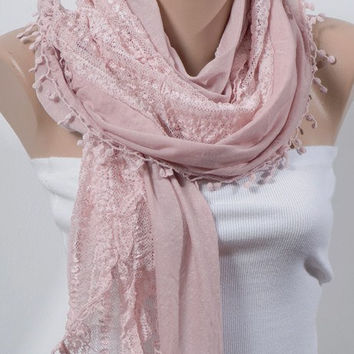 PINK Scarf with lace. Valentine Scarf. For 4 seasons. Big scarf or shawl....