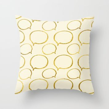 Cream Gold Foil 01 Throw Pillow by Aloke Design