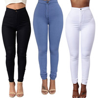 New Sale Spring Summer 3 Colors Womens Slim Casual Narrow Feet Jeans Trousers Vintage High Waist Denim Pants top quality