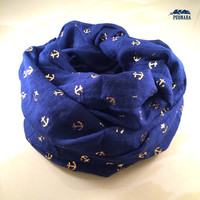 Gold Anchor Infinity Scarf