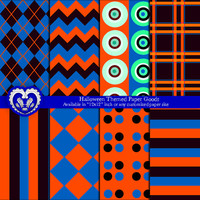Halloween Themed Digital Paper Goods - Orange Black Blue - Argyle Polka Stripes Chevron Plaid Patterns