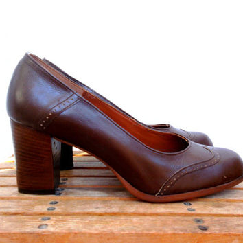 Brown Leather Shoes, Wingtip Platforms, Round Toe Spectators, Simple Mod Loafters, Chocoate Stilettos, Stacked Heel Oxfords, Size 39, 8, 9