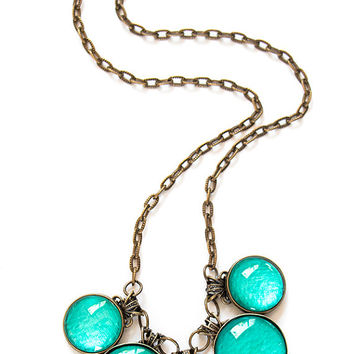 Teal Necklace , Statement Necklace , Antique Brass Filigree, Bib Necklace , Chunky Necklace