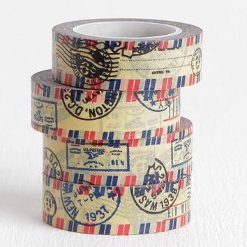 Stamped Airmail Washi Tape with New York and Washington DC Cancel Marks, Old Vintage Style Washi Tape, 15mm