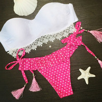 White Bandeau Top and Polka Dot Bottom Matching Bikinis